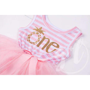 "1st Birthday Dress Gold Pineapple ""ONE"" Sleeveless Pink Striped with Pink Tutu - Grace and Lucille"