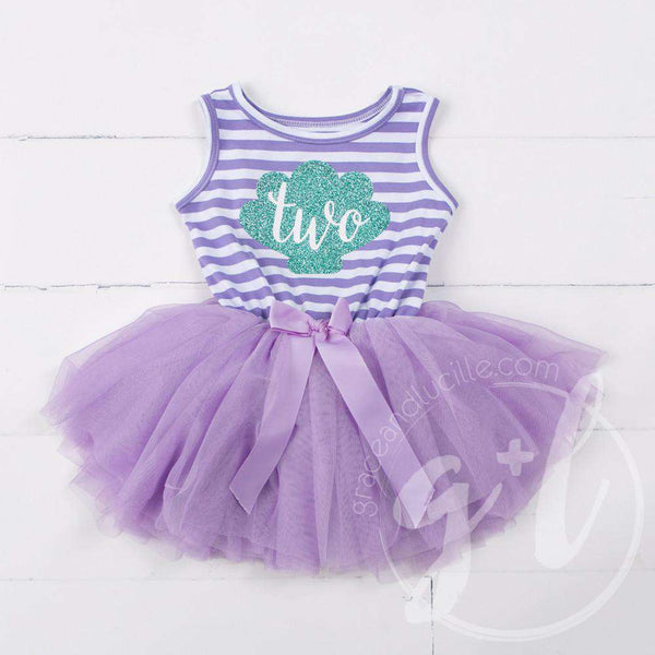 "2nd Birthday Mermaid Dress Aqua Sea Shell ""TWO"" on Purple Striped Sleeveless - Grace and Lucille"