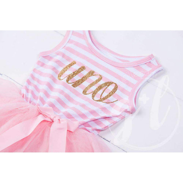 "1st Birthday Dress Gold Script Spanish ""UNO"" Pink Striped Sleeveless - Grace and Lucille"