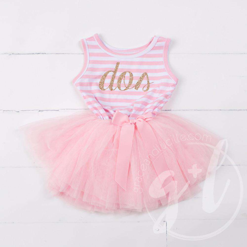 "2nd Birthday Dress Gold Script Spanish ""DOS""  Pink Striped Sleeveless - Grace and Lucille"