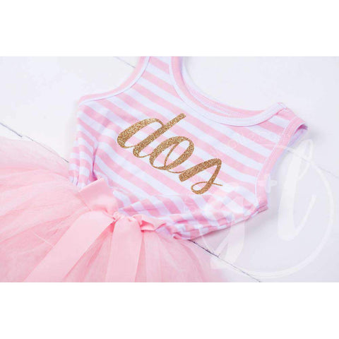 2nd Birthday Dress Gold Script Spanish