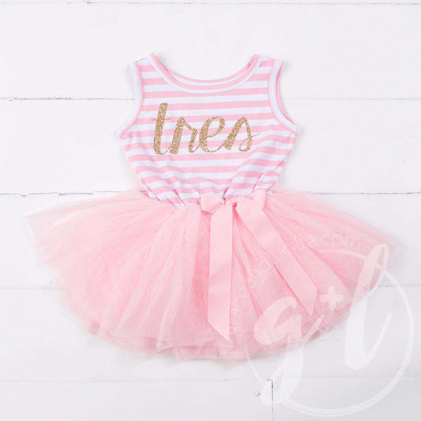 "3rd Birthday Dress Gold Script Spanish ""TRES""  Pink Striped Sleeveless - Grace and Lucille"