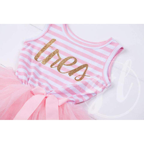 3rd Birthday Dress Gold Script Spanish