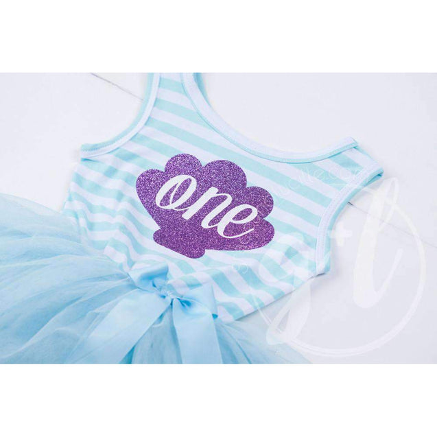 "1st Birthday Mermaid Dress Purple Shell ""ONE"" on Aqua Striped Sleeveless - Grace and Lucille"