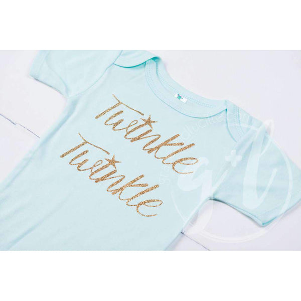 "Mint Onesie with Gold ""TWINKLE TWINKLE"" Graphics - Grace and Lucille"