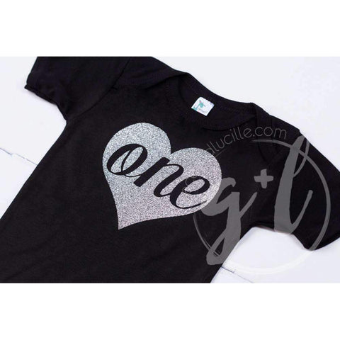Black Onesie with Silver Heart & her AGE