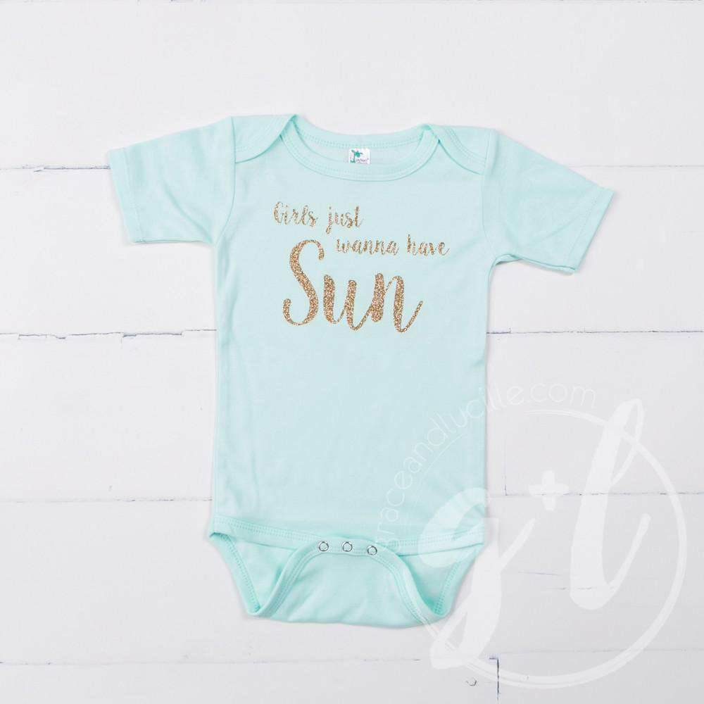 "Mint Onesie with Gold ""GIRLS JUST WANNA HAVE SUN"" Graphics - Grace and Lucille"