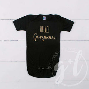 "Black Onesie with ""HELLO GORGEOUS"" Gold Graphics - Grace and Lucille"
