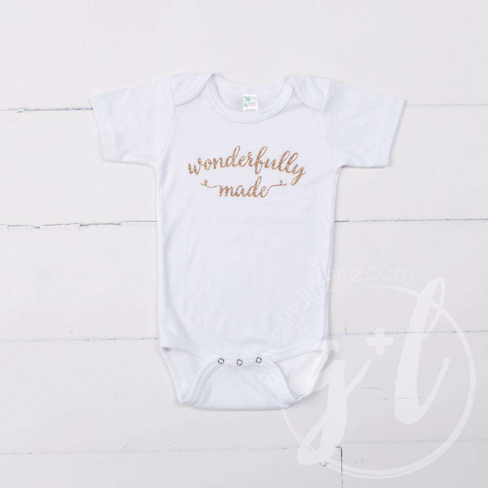 "White Onesie with ""WONDERFULLY MADE"" Gold Graphics - Grace and Lucille"