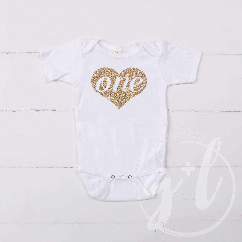 White Onesie with Gold Heart & her AGE - Grace and Lucille
