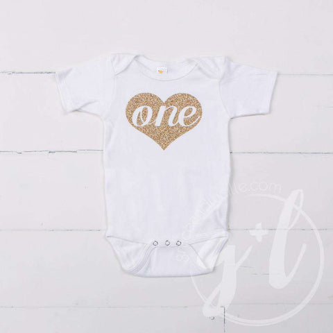 White Onesie with Heart of Gold & her AGE