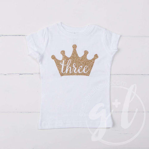 White Tee Shirt with Gold Crown & Her Age