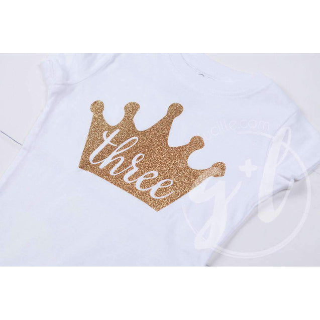 White Tee Shirt with Gold Crown & Her Age - Grace and Lucille