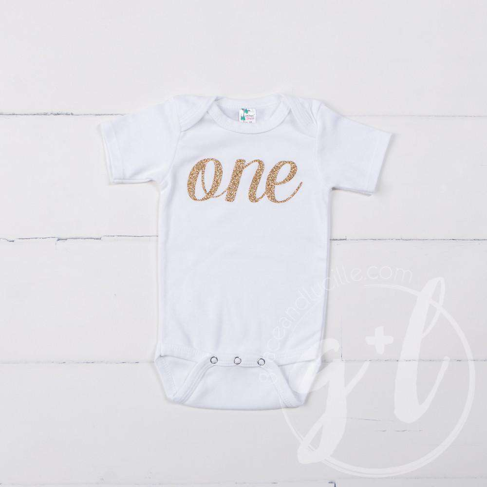 White Onesie with Gold Script of her AGE - Grace and Lucille
