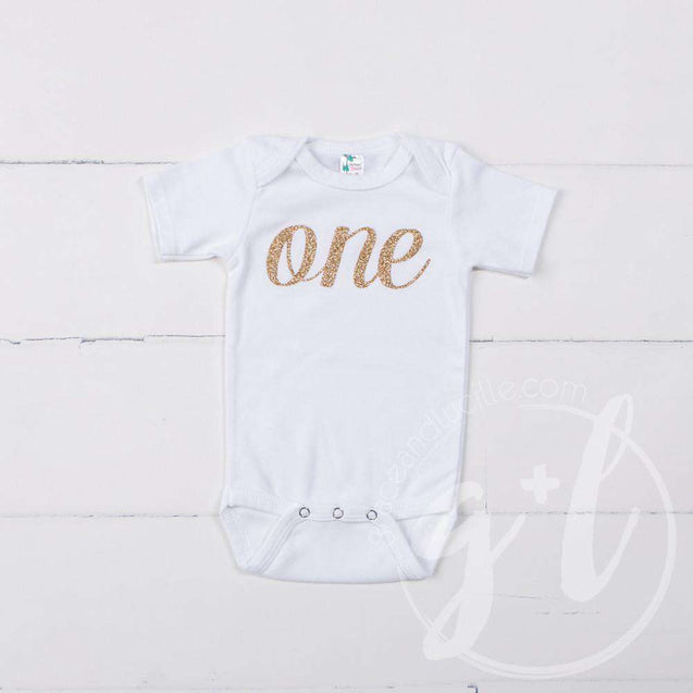 White Onesie with Gold Script ONE - Grace and Lucille