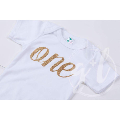 White Onesie with Gold Script ONE