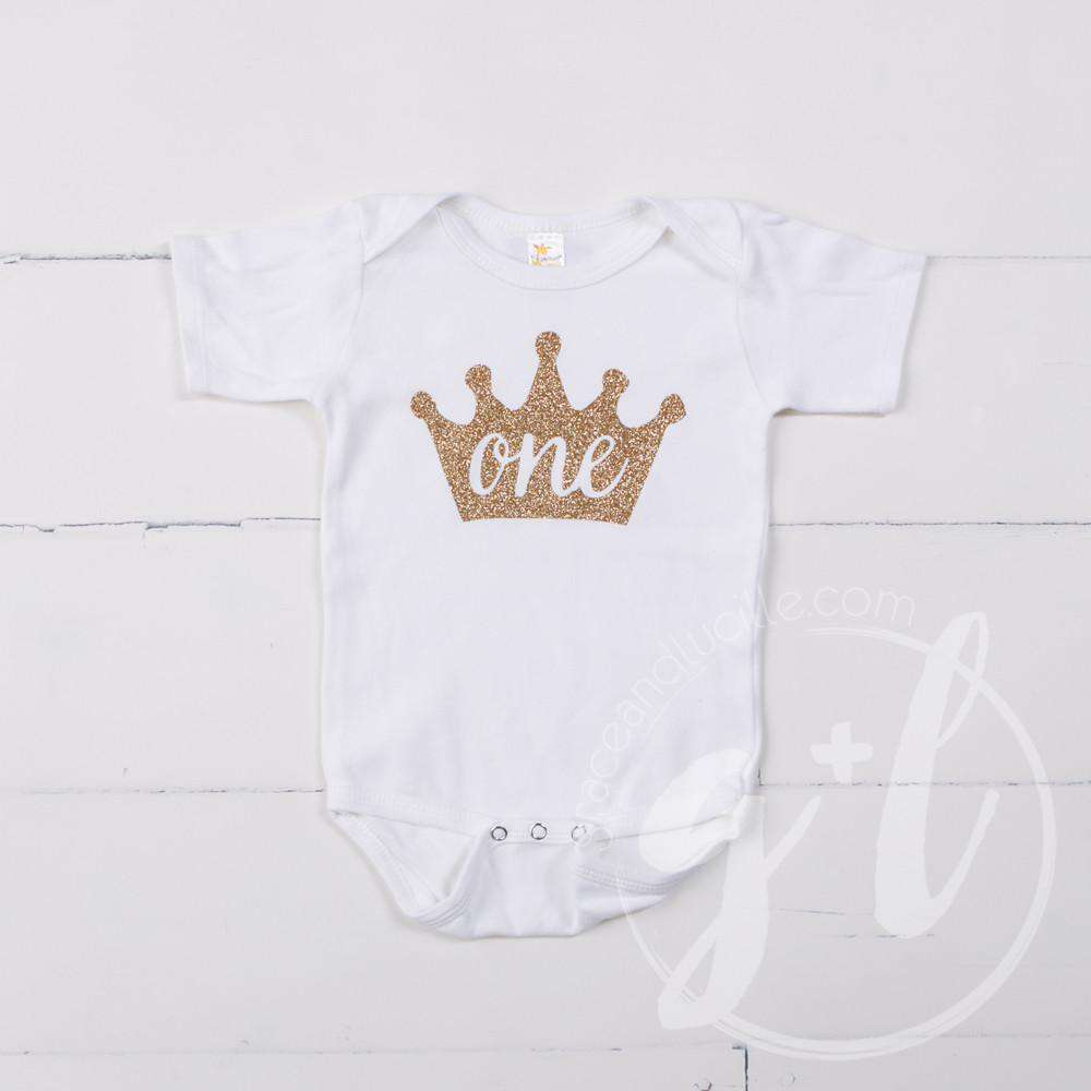 White Onesie with Gold Crown & her AGE - Grace and Lucille