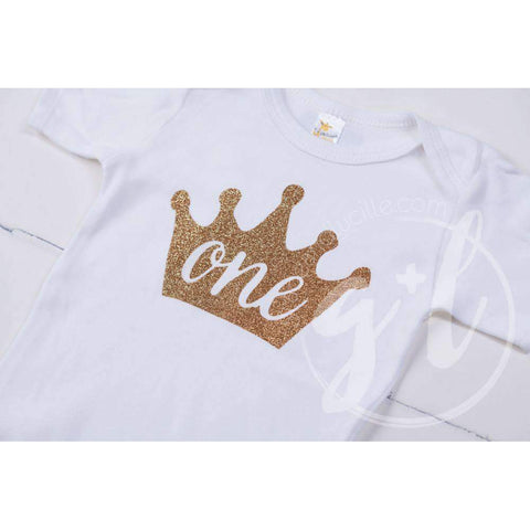White Onesie with Gold Crown & her AGE