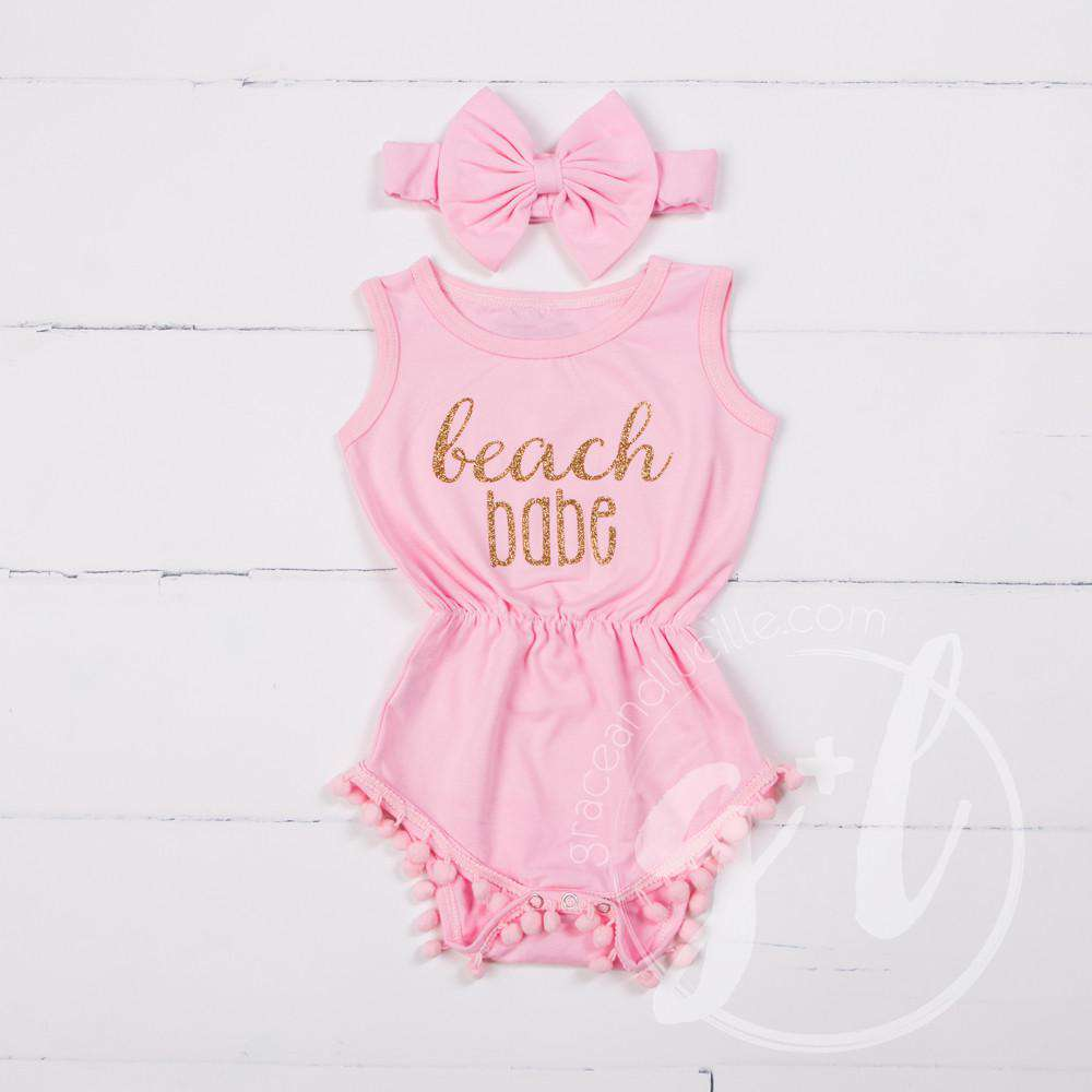 "Pom Pom Romper Set ""Beach Babe"" with Big Bow Headband, Pink - Grace and Lucille"