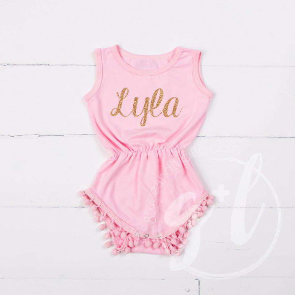 Pom Pom Romper Set Personalized with her Name in Gold & Big Bow Headband Set, Pink - Grace and Lucille