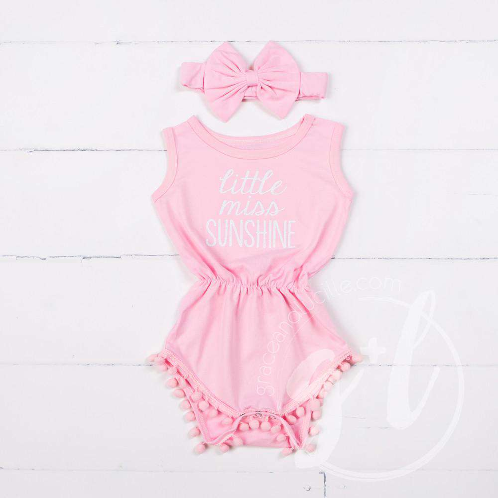 "Pom Pom Romper Set ""Little Miss Sunshine"" with Big Bow Headband, Pink - Grace and Lucille"