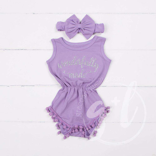 "Pom Pom Romper Set Silver ""WONDERFULLY MADE"" with Big Bow Headband, Purple - Grace and Lucille"