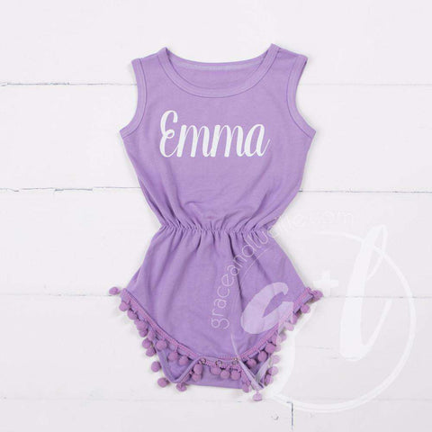 Pom Pom Romper Set Personalized with her Name in Gold & Big Bow Headband, Purple