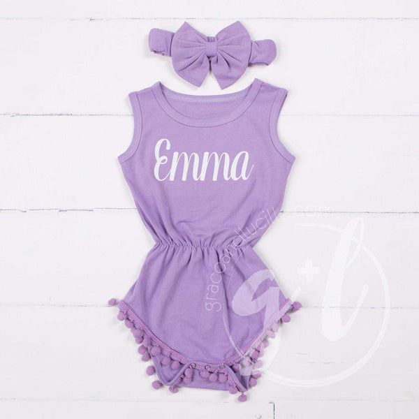 Pom Pom Romper Set Personalized with her Name in Gold & Big Bow Headband, Purple - Grace and Lucille