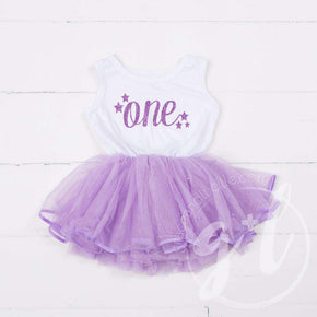 "1st Birthday Dress Purple Starry Script ""ONE"" White Sleeveless with attached Purple Tutu - Grace and Lucille"