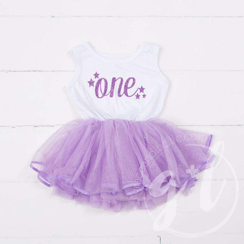 Birthday Dress Purple Starry Script with her AGE White Sleeveless with Purple Tutu