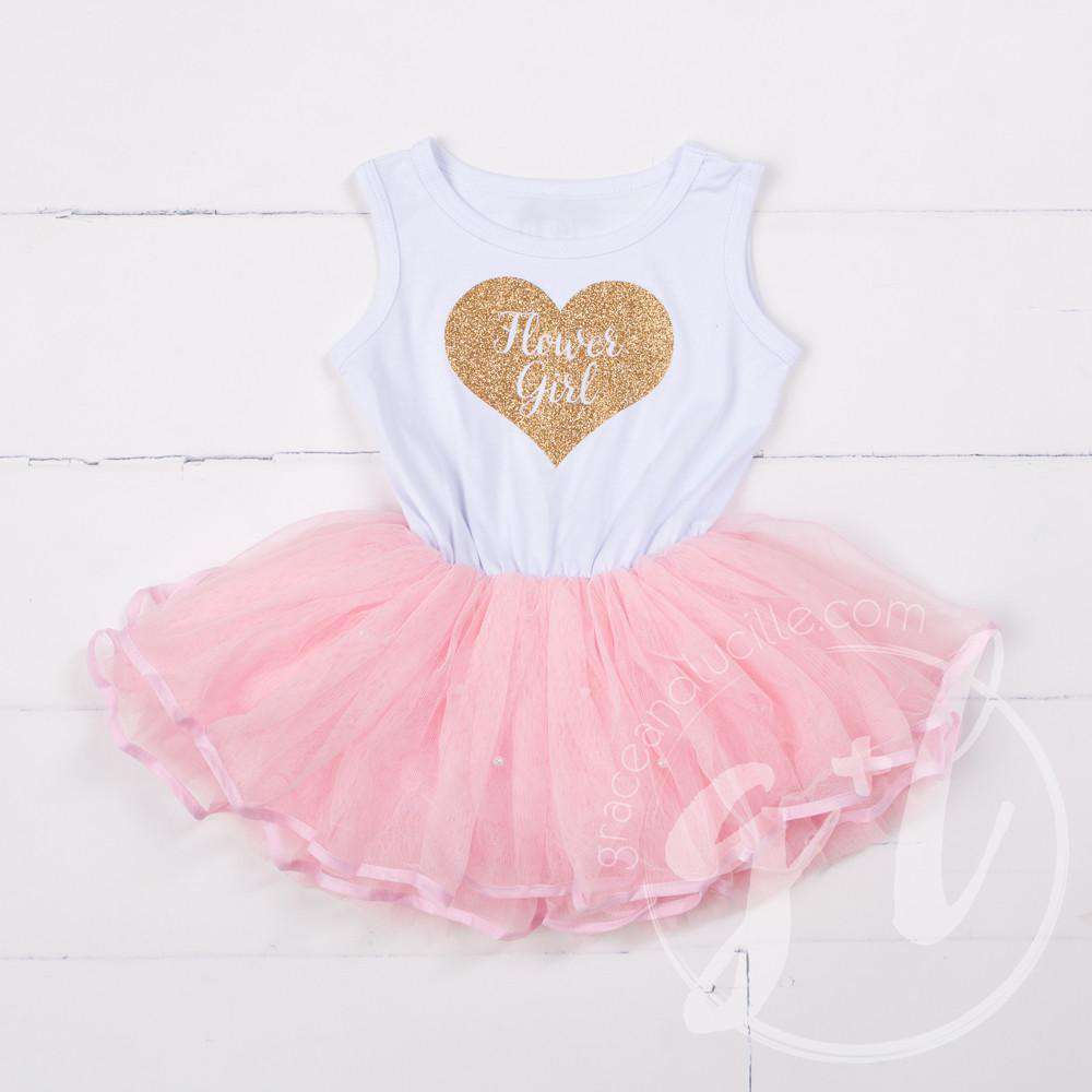 Flower Girl Dress Gold Heart White Sleeveless with attached Pink Tutu - Grace and Lucille