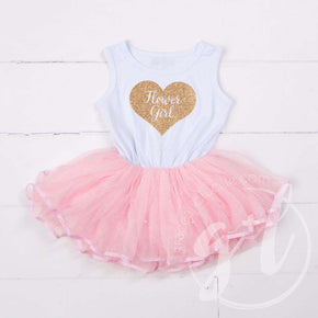Flower Girl Dress Heart of Gold White Sleeveless with attached Pink Tutu - Grace and Lucille