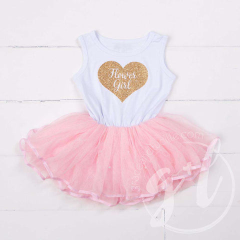 Flower Girl Dress Heart of Gold White Sleeveless with attached Pink Tutu