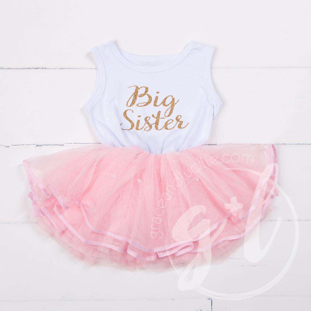 Big Sister Dress Gold Script White Sleeveless with attached Pink Tutu - Grace and Lucille