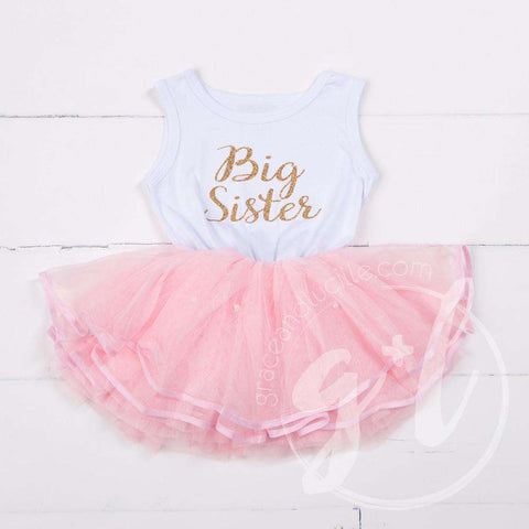 Big Sister Dress Gold Script White Sleeveless with attached Pink Tutu