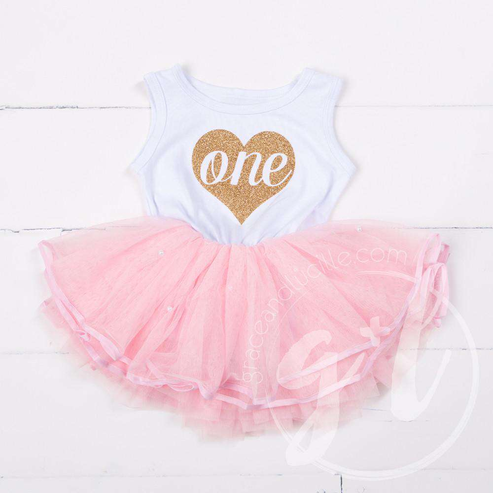 "Birthday Dress Gold Heart ""ONE"" White Sleeveless with Pink Tutu - Grace and Lucille"