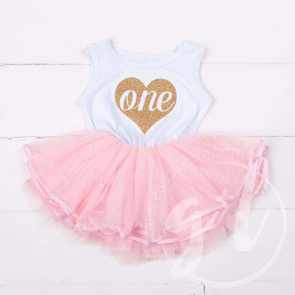 "1st Birthday Dress Heart of Gold ""ONE"" White Sleeveless with attached Pink Tutu - Grace and Lucille"