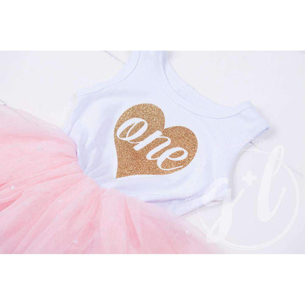 "Birthday Dress Heart of Gold ""ONE"" White Sleeveless with Pink Tutu - Grace and Lucille"
