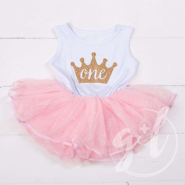 Birthday Dress Gold Crown with her AGE on White Sleeveless with attached Pink Tutu - Grace and Lucille