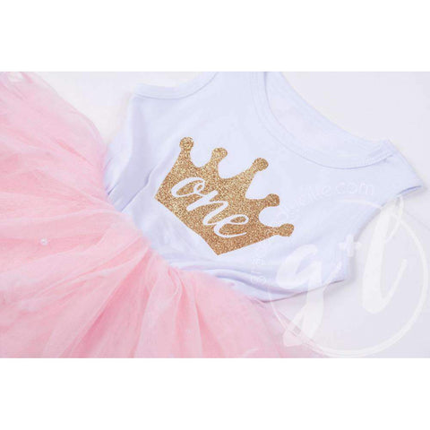 Birthday Dress Gold Crown with her AGE on White Sleeveless with attached Pink Tutu