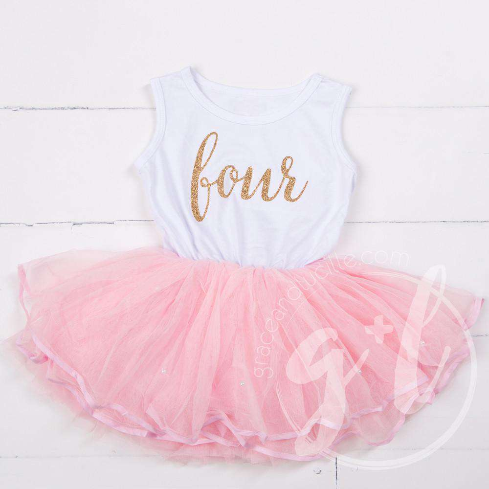 "4th Birthday Dress Gold Script ""FOUR"" White Sleeveless with attached Pink Tutu - Grace and Lucille"