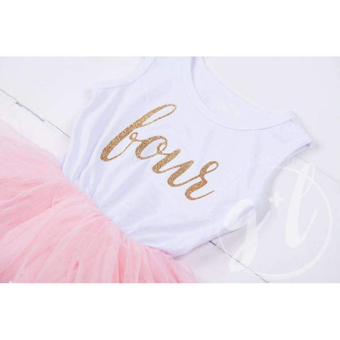 Birthday Dress Gold Script with her AGE on White Sleeveless with Pink Tutu