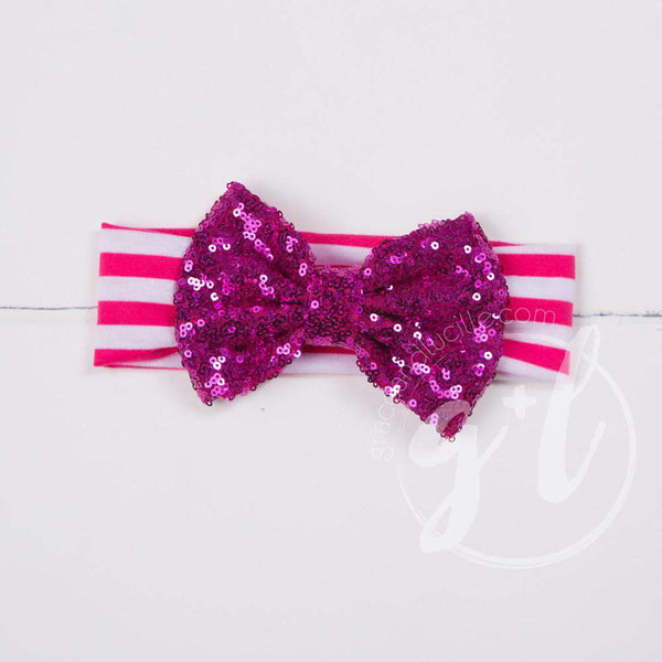 Magenta Sequined Bow on Magenta & White Striped Headband - Grace and Lucille