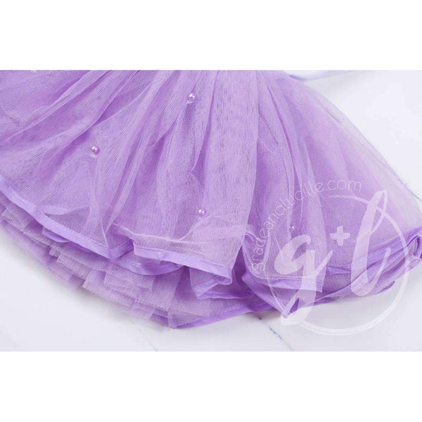 Birthday Dress Silver Crown with her AGE on Sleeveless White Top with Purple Tutu - Grace and Lucille