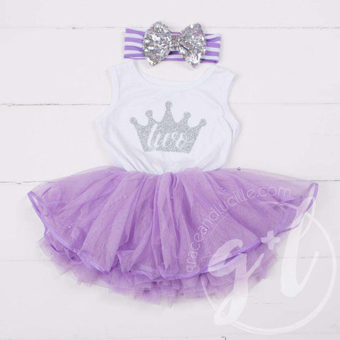 Birthday Dress Silver Crown with her AGE on Sleeveless White Top with Purple Tutu