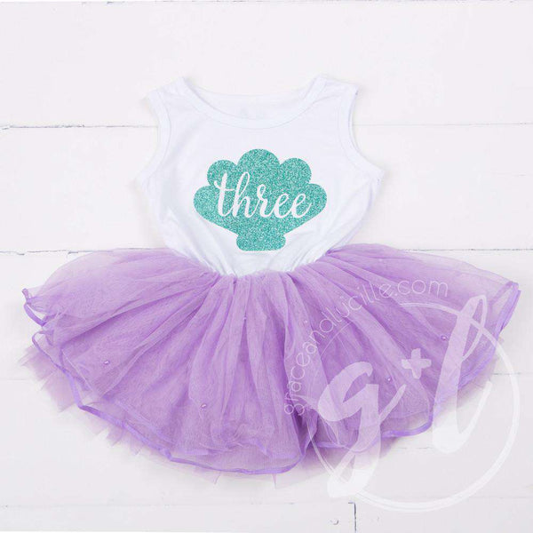 Birthday Mermaid Dress Aqua Sea Shell with her AGE on Sleeveless White Top with Purple Tutu - Grace and Lucille