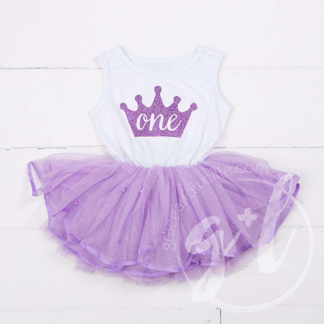 Birthday Dress Purple Crown with her AGE on Sleeveless White Top with Purple Tutu - Grace and Lucille