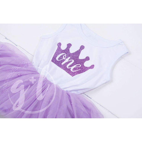 Birthday Dress Purple Crown with her AGE on Sleeveless White Top with Purple Tutu