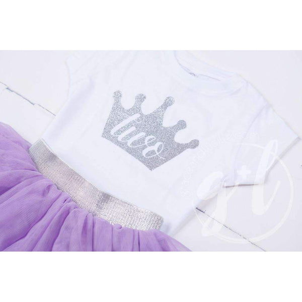 White Tee Shirt with Silver Crown & Her Age - Grace and Lucille