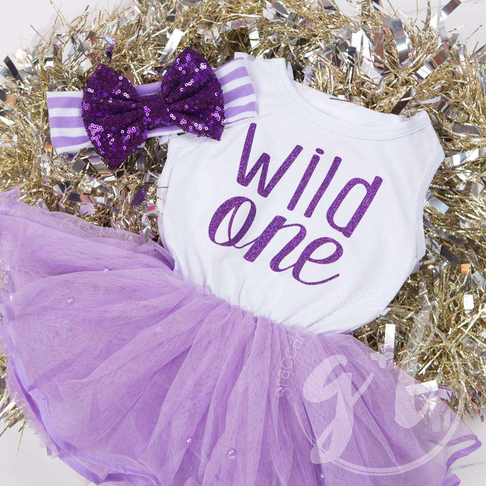 """WILD ONE"" Dress White Top with Purple Tutu Sleeveless - Grace and Lucille"